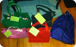 reusable totes wrapped christmas gifts