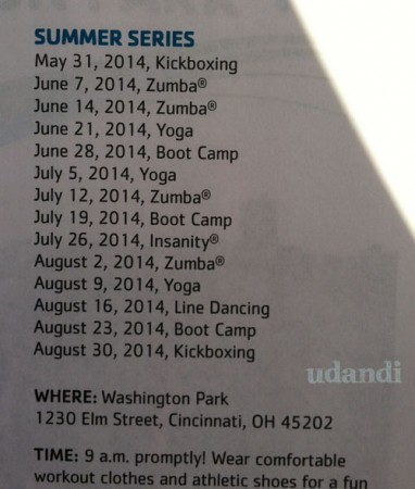 Summer 2014 weekend workouts Washington Park Cincinnati [udandi.com]