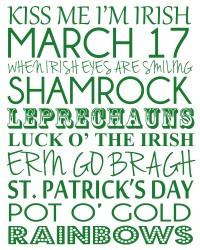 St Patrick's Day printable poster subway art  |udandi.com