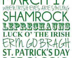 St Patrick's Day printable poster subway art |udandi.com
